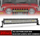 20304050 Quad Row Led Light Bar Spot Flood Combo 6000k Driving 54inch Curved