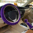 3pcs Warm Plush Car Steering Wheel Cover Fur Fluffy Handbrake Gear Knob Cover C