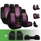 2-tone Leopard Velour Seat Covers With Floor Mats