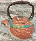 Early Antique Japanese Banko teapot tea pot Quail Fly insect bird Signed MINT