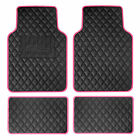 Deluxe Faux Leather Car Floor Mats With Colorful Trim - Full Set - 8 Colors