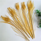 Beautiful 10-100pcs Gold Natural Peacock Feather 25-30 Cm 10-12 Inches
