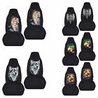 Cc Front Set Cotton Car Seat Covers Wtiger Wolf Skull Fits 94-04 Ford Mustang