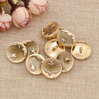 10pcs Metal Shank Buttons Moon Star Pattern Diy Suit Coat Gold Silver Black