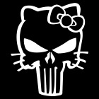 Hello Kitty Punisher Skull Vinyl Decal Car Truck Window Sticker Bow Funny Jdm