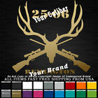Deer Hunter Antlers Skull Crossed Guns 25-06 Remington Sticker Your Text Custom
