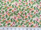 Discount Fabric Quilting Cotton Christmas Holly Red Green Gold And White T22