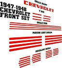 1947-1948 Chevy Fleetline Fleetmaster Coupe Stylemaster Front Decal Set