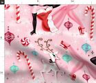 Christmas Decor Christmas Decor Pink Deer Fabric Printed By Spoonflower Bty