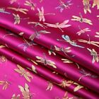 Chinese Satin Brocade Fabric Jacquard Dragonfly Embroiderd Damask Costume Fabric