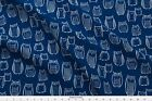 Owl Navy Blue Fabric Printed By Spoonflower Bty