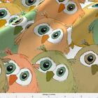 Watercolor Earth Colored Owls. Fabric Printed By Spoonflower Bty