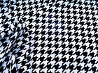 Fabric Printed Liverpool Textured 4 Way Stretch Lg Houndstooth Navy White J300