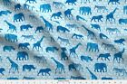 Wild Safari Blue Wild Elephant Zebra Giraffe Fabric Printed By Spoonflower Bty