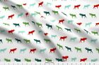 Moose Forest Christmas Holiday Fabric Printed By Spoonflower Bty
