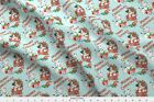 Merry Christmas Kittens Blue Fabric Printed By Spoonflower Bty