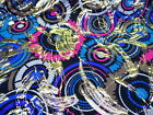 Discount Fabric Printed Spandex Stretch Circles Blue Pink Metallic Gold C207