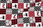 Plaid Black And Red Patchwork Cheater Tractor Fabric Printed By Spoonflower Bty