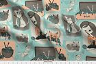 Wool Knitting Cats Mint Coral Brown Yarn Fabric Printed By Spoonflower Bty