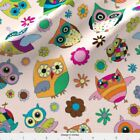 Owl Owls Flowers Bright Fabric Printed By Spoonflower Bty