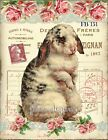 Shabby Chic Vintage Easter Bunny Roses Lace Fabric Block Quilting Fb 151