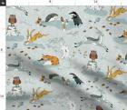 Fox Hedgehog Badger Woodland Stag Rabbit Owl Fabric Printed By Spoonflower Bty