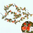230cm Hanging Decor Fake Silk Roses Vine Artificial Flowers With Green Leaves