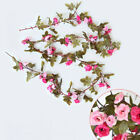 230cm Artificial Flowers Fake Silk Roses Vine With Green Leaves Hanging Decor