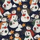 Snowmen With Buttons On Navy Blue Christmas Fabric By The Yard By The Half Yard