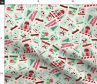 Retro Blue And Red Snowglobe Retro Christmas Fabric Printed By Spoonflower Bty