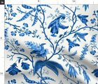 Chinoiserie Blue And White Chintz Floral Fabric Printed By Spoonflower Bty