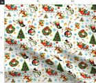 Retro Holiday Christmas Santa Claus Cats Fabric Printed By Spoonflower Bty