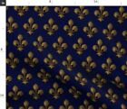Fleur De Lis Blue Gold French Lily Renaissance Fabric Printed By Spoonflower Bty
