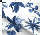 Blue White Floral Floral Floral Tropical Fabric Printed By Spoonflower Bty