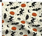 Pumpkin Witches Brooms Owls Bats Stars Moons Fabric Printed By Spoonflower Bty