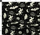 Halloween Night Pumpkin Witch Owl Witches Fabric Printed By Spoonflower Bty