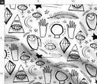 Mystical Crystal Ball Owl Feather Wand Moon Fabric Printed By Spoonflower Bty