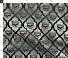 Gray Skull Spooky Royal Halloween Decor Crown Fabric Printed By Spoonflower Bty