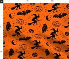 Halloween Bats Witches Pumpkins Owls Moons Fabric Printed By Spoonflower Bty