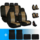 2-tone Leopard Velour Seat Covers With Carpet Floor Mats