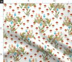 Rabbit Bunny White Landscape Mushroom Fabric Printed By Spoonflower Bty