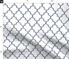 Navy Ogee Pattern Decorative White Geometric Fabric Printed By Spoonflower Bty