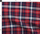 Plaid Red White Blue Flannel Navy Tartan Fabric Printed By Spoonflower Bty