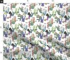 Purrmaids Scale On White Whimsical Cat Fabric Printed By Spoonflower Bty