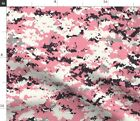 Pink Gray White Black Camouflage Camo Digital Fabric Printed By Spoonflower Bty