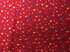 Calico Fabric Cotton Pink Purple Blue Tan Red Green