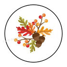 30 Fall Leaves Acorns Envelope Seals Labels Stickers Party Favors 1.5 Round