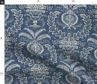 Vintage Home Decor Damask Navy Blue White Fabric Printed By Spoonflower Bty