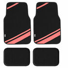 Carpet Liners Car Floor Mats With Faux Leather Stripes - Full Set