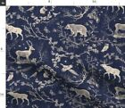 Toile Navy Background Winter Christmas Deer Spoonflower Fabric By The Yard